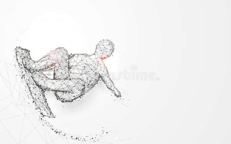 Nastolatka deskorolkarz od linii i trójboków, wskazuje złączoną sieć na błękitnym tle ilustracja wektor