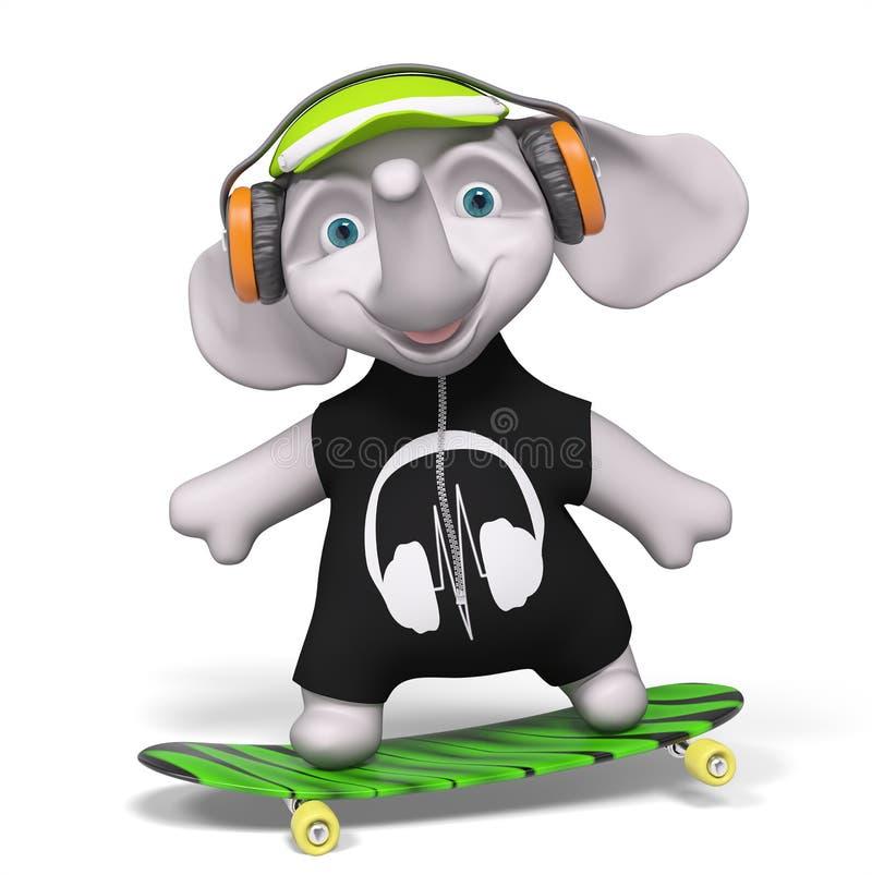 Nastolatka słoń jeździć na deskorolce odosobnionego 3d odpłaca się ilustracja wektor