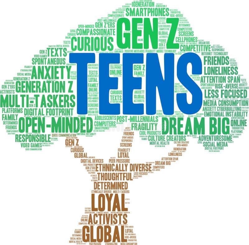 Nastolatki w chmurze Word ilustracja wektor