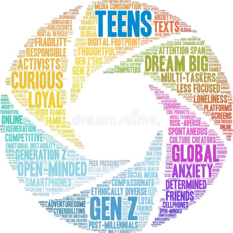 Nastolatki w chmurze Word royalty ilustracja