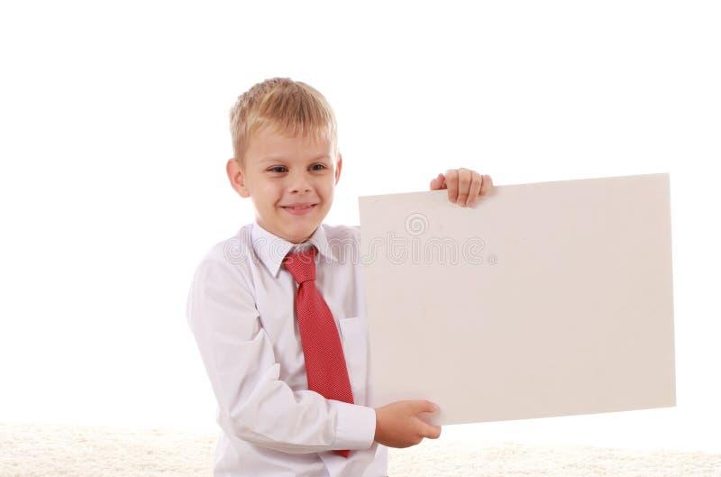 Nastoletni chłopak i sztandar z przestrzenią dla teksta obrazy royalty free