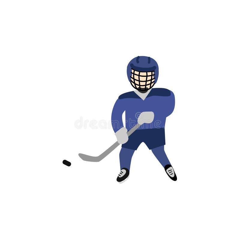 Nastoletni chłopak w hełmie i mundur bawić się hokeja ilustracja wektor