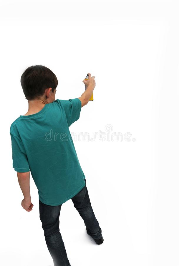 Nastoletni chłopak z kiści puszką zdjęcie royalty free