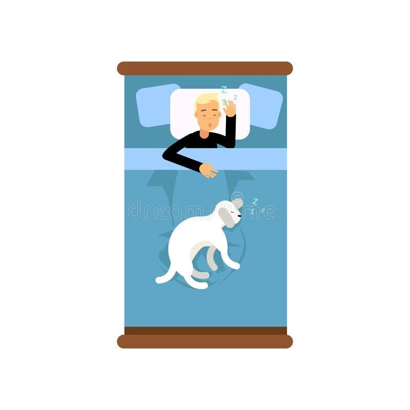 Nastoletni chłopiec dosypianie w łóżku z jego psem, widok od above kreskówka wektoru ilustraci ilustracji