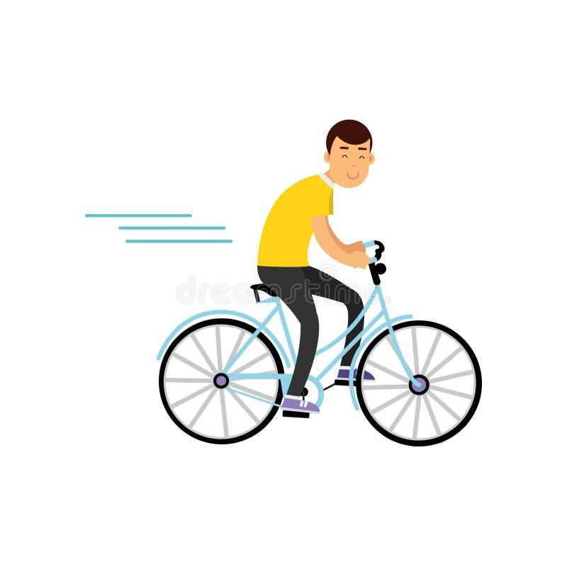 Nastoletni chłopiec kolarstwo na bicyklu, chłopiec robi sportowi, aktywna stylu życia wektoru ilustracja ilustracji