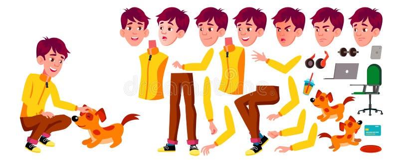 Nastoletni chłopiec wektor Animaci tworzenia set Twarzy emocje, gesty Aktywny, wyrażenie animowany Dla sztandaru, ulotka ilustracja wektor