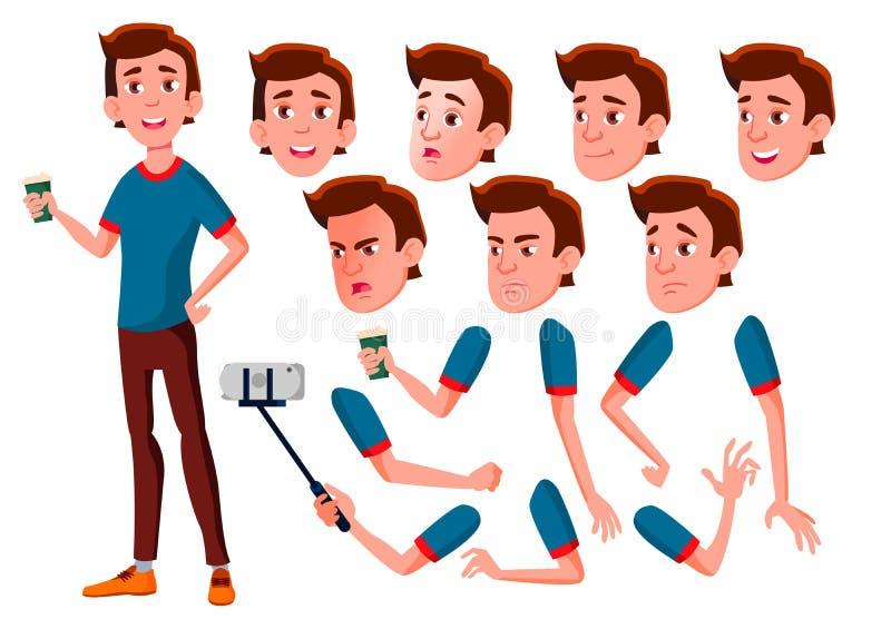 Nastoletni chłopiec wektor nastolatek Twarz Dzieci Twarzy emocje, Różnorodni gesty Animaci tworzenia set Odosobniony mieszkanie ilustracja wektor