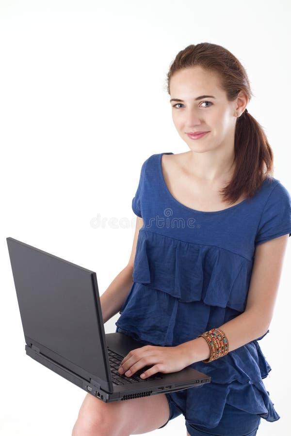nastoletni dziewczyna laptop fotografia stock