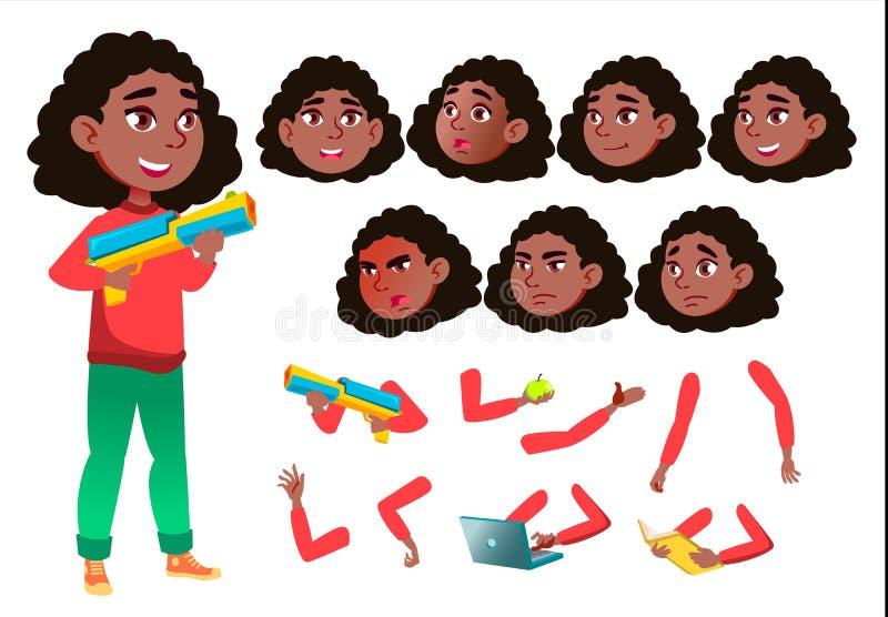 Nastoletni dziewczyna wektor nastolatek czerń Afro amerykanin Dosyć, młodość Twarzy emocje, Różnorodni gesty Animaci tworzenia se ilustracja wektor