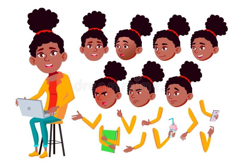Nastoletni dziewczyna wektor nastolatek czerń Afro amerykanin Przyjaciele, życie Emocjonalny, poza Twarzy emocje, Różnorodni gest royalty ilustracja