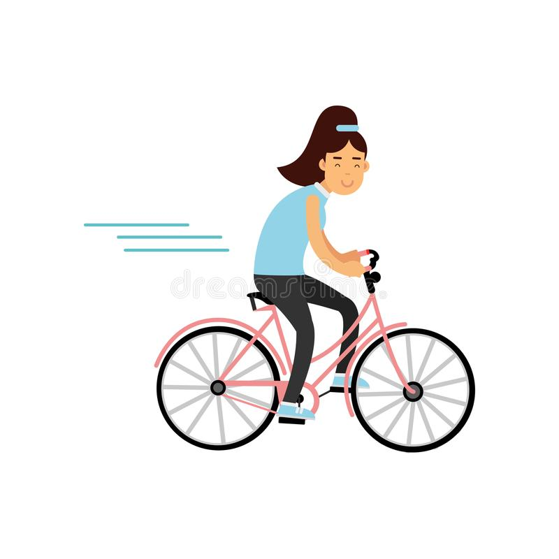 Nastoletni dziewczyny kolarstwo na bicyklu, dziewczyna robi sportowi, aktywna stylu życia wektoru ilustracja royalty ilustracja