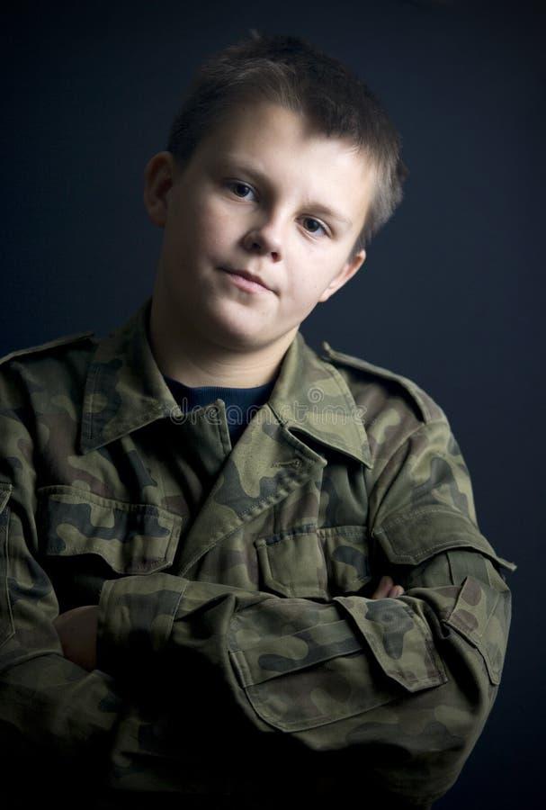 nastoletni militarny chłopiec portret obrazy royalty free
