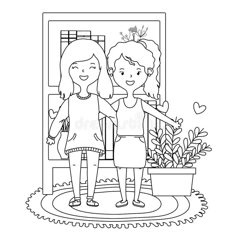 Nastoletni przyjaciela projekt ilustracja wektor