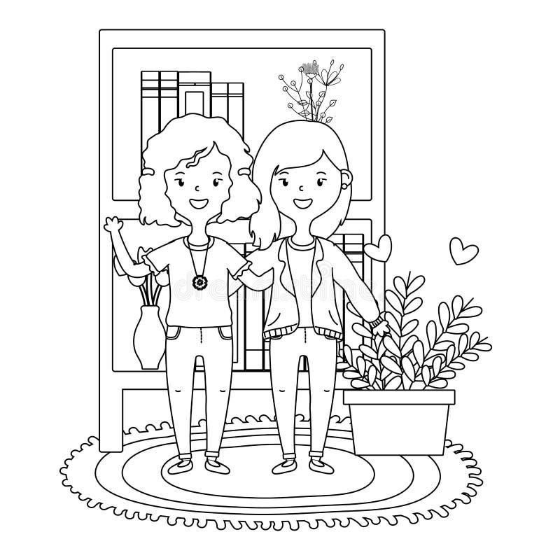 Nastoletni przyjaciela projekt royalty ilustracja