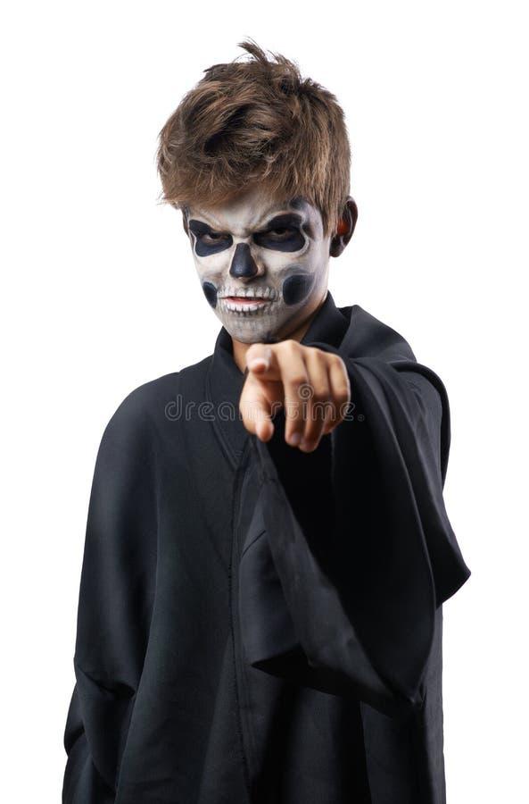 Nastoletni z makeup czaszki punktów palcem fotografia royalty free