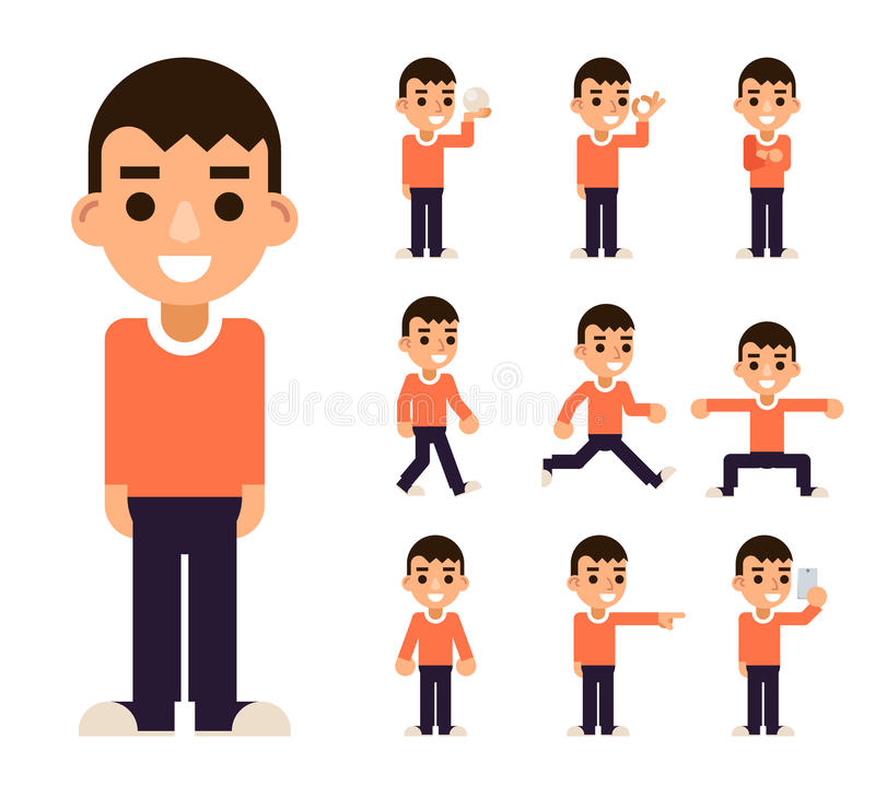 Nastoletnia chłopiec w Różnych pozach i akcja charakterów projekta wektoru ikona Ustawiającej Odizolowywającej Płaskiej ilustraci ilustracji