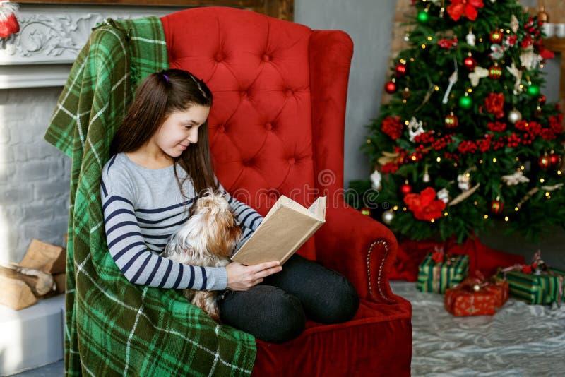 Nastoletnia dziewczyna czyta książkę Pojęcie Wesoło boże narodzenia, wakacje, rodzina fotografia royalty free