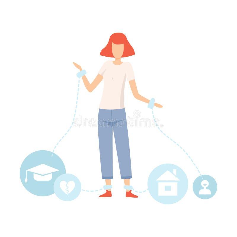 Nastoletnia dziewczyna Jest ubranym szakle, nastolatek dojrzałości płciowej problemy, dziewczyna Doświadcza stres, uczenie proble ilustracji