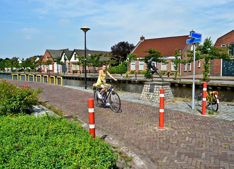 Nastoletnia dziewczyna na bicyklu obraz stock