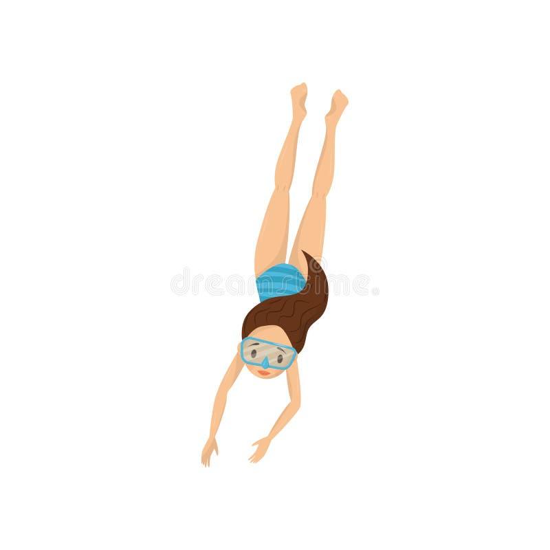 Nastoletnia dziewczyna nurkował w wodę Dzieciak w błękitnej swimwear i pikowania masce Aktywny odtwarzanie i snorkeling temat Pła ilustracja wektor