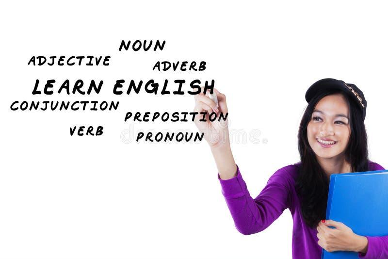 Nastoletnia dziewczyna pisze angielskim materiale zdjęcie stock