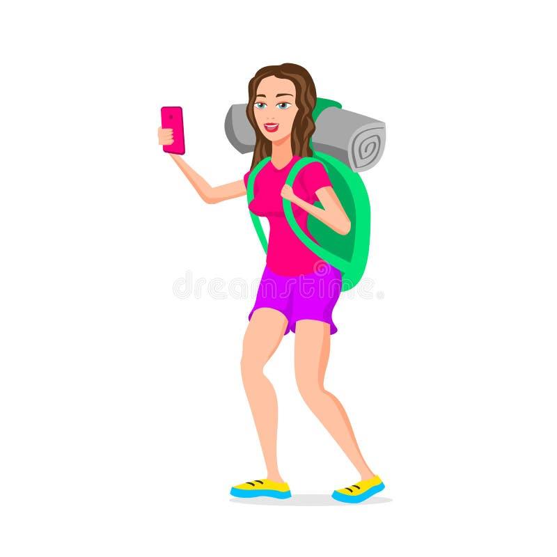 Nastoletnia Dziewczyna turystycznego modnisia Śmieszna postać z kreskówki Wektorowa ilustracja p?aski projekt pojedynczy bia?e t? royalty ilustracja