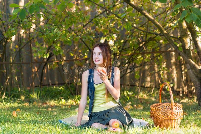 Nastoletnia dziewczyna z koszem w ogrodowym łasowaniu Apple obrazy royalty free
