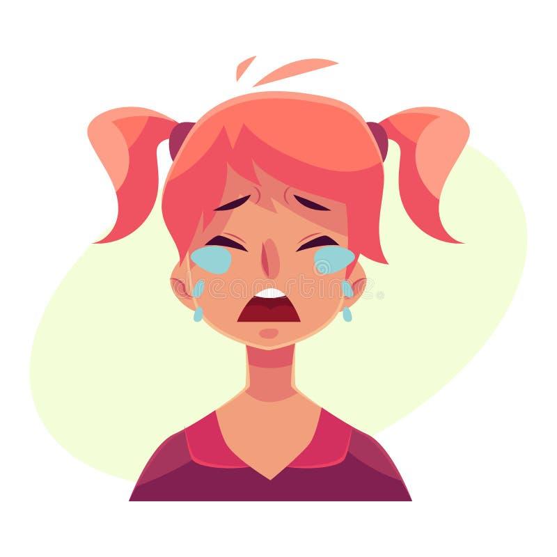 Nastoletnia dziewczyny twarz, płacze wyraz twarzy ilustracja wektor