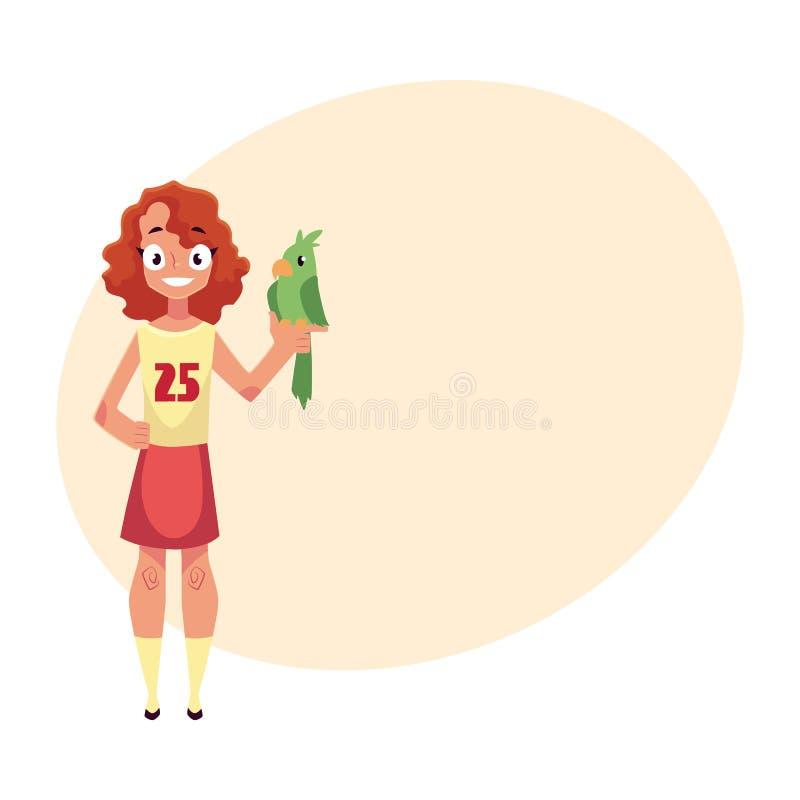 Nastoletnia, nastoletnia dziewczyna pozycja, i mienia zielony papuzi zwierzę domowe, kamrat ilustracja wektor