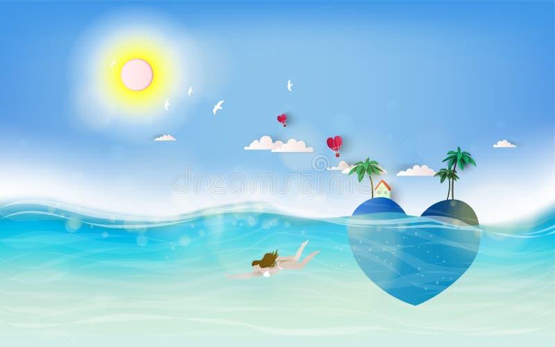 Nastoletnie dziewczyny wewnątrz pod wodą Lato zmierzch z tropikalnym raju sercem kształtował romantyczną wyspę royalty ilustracja