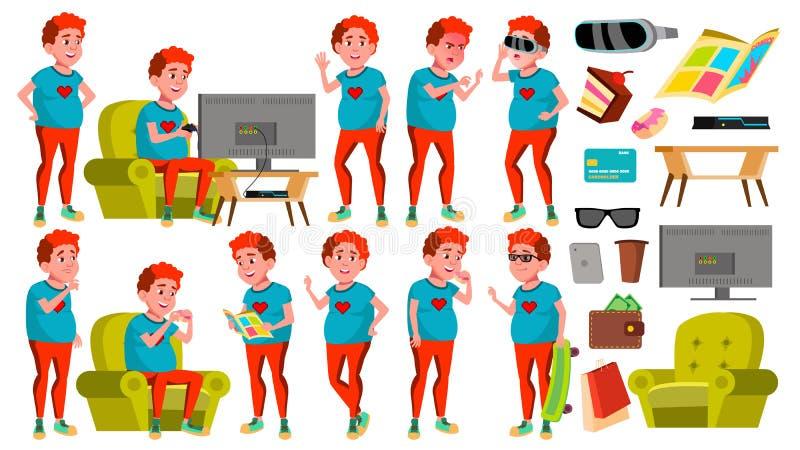 Nastoletnie pozy Ustawiający chłopiec wektor czerwony głowy Gruby Gamer Zabawa, Rozochocona Dla sieci, plakat, broszura projekt O ilustracji