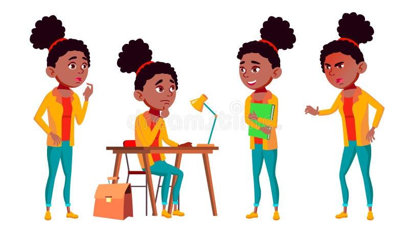 Nastoletnie pozy Ustawiający dziewczyna wektor Śliczny, komiczka czerń Afro amerykanin joyce Dla pocztówki, zawiadomienie, Okładk ilustracji