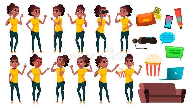 Nastoletnie pozy Ustawiający dziewczyna wektor czerń Afro amerykanin Aktywny, wyrażenie Dla prezentaci, druk, zaproszenie projekt royalty ilustracja