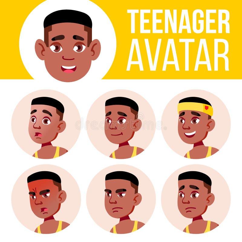 Nastoletniego chłopiec Avatar Ustalony wektor czerń Afro amerykanin Stawia czoło Emocje Wysoki, dziecko uczeń Mały, junior kreskó ilustracji