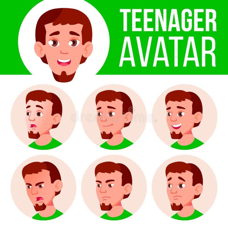 Nastoletniego chłopiec Avatar Ustalony wektor Stawia czoło Emocje Mieszkanie, portret Śliczny, Komiczny, sieć Kreskówki Kierownic ilustracja wektor