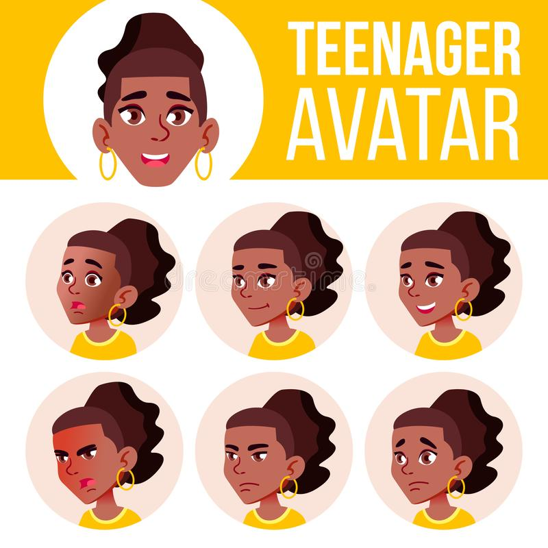 Nastoletniego dziewczyny Avatar Ustalony wektor czerń Afro amerykanin Stawia czoło Emocje Mieszkanie, portret Młodość, Kaukaska k ilustracja wektor