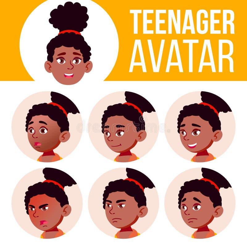 Nastoletniego dziewczyny Avatar Ustalony wektor czerń Afro amerykanin Stawia czoło Emocje Twarzowy, ludzie Aktywny, radość Kreskó ilustracja wektor