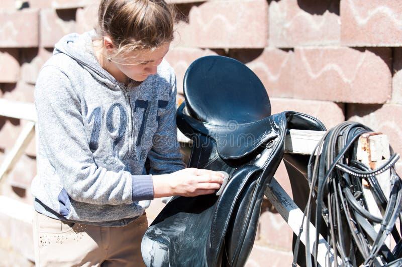 Nastoletniej dziewczyny equestrian czyści czarnego Rzemiennego konia comber obrazy stock