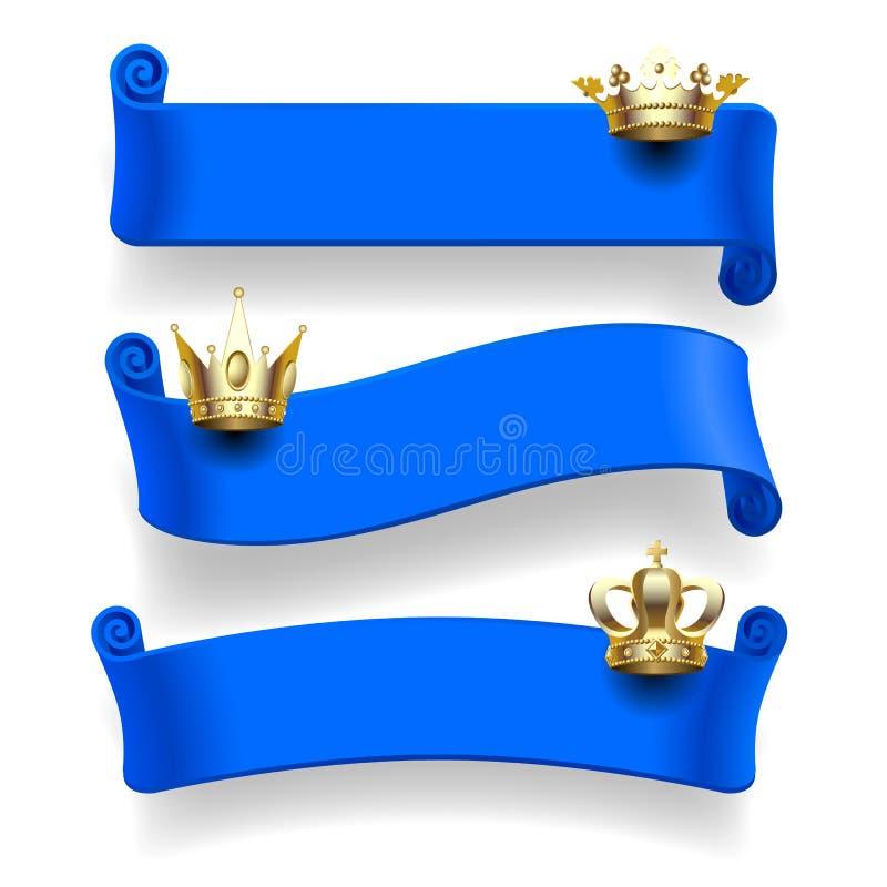 Nastri blu con le corone dell'oro illustrazione vettoriale