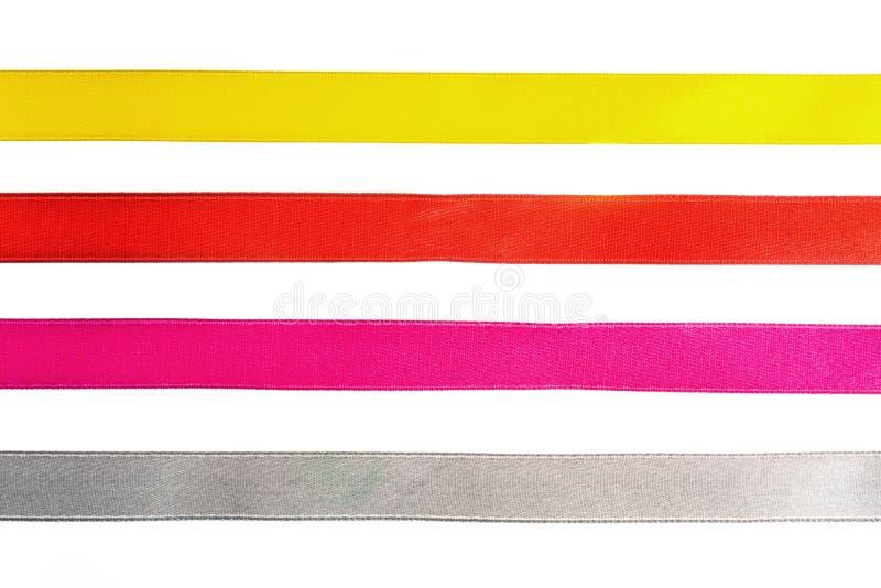Nastri d'arricciatura di pendenza brillante rossa, gialla, arancio, blu per progettazione. fotografia stock libera da diritti
