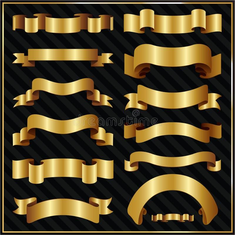 Nastri decorati decorativi dell'oro illustrazione di stock