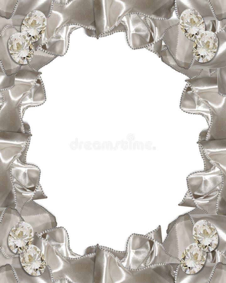 Nastri dei diamanti dell'invito di cerimonia nuziale illustrazione di stock