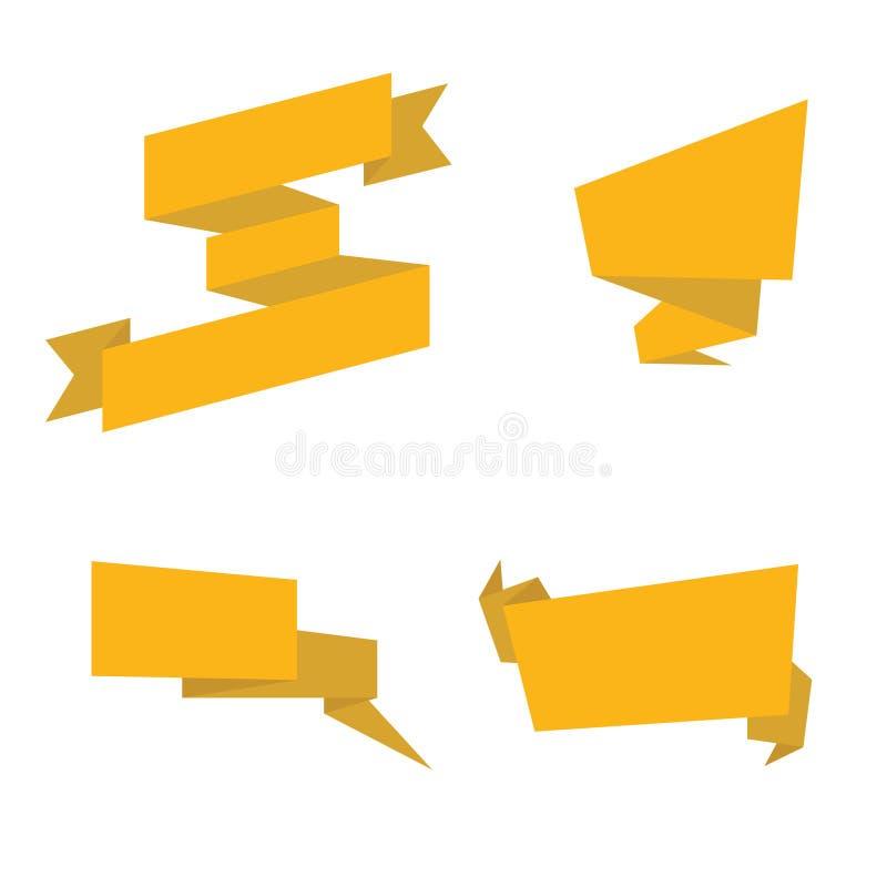 Nastri dell'oro isolati Raccolta dei nastri gialli royalty illustrazione gratis