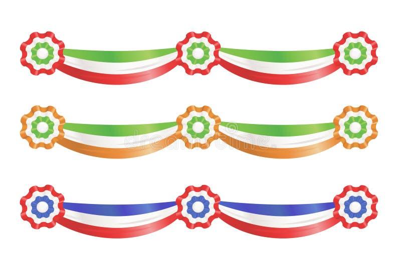 Nastri della decorazione del partito della bandierina illustrazione vettoriale