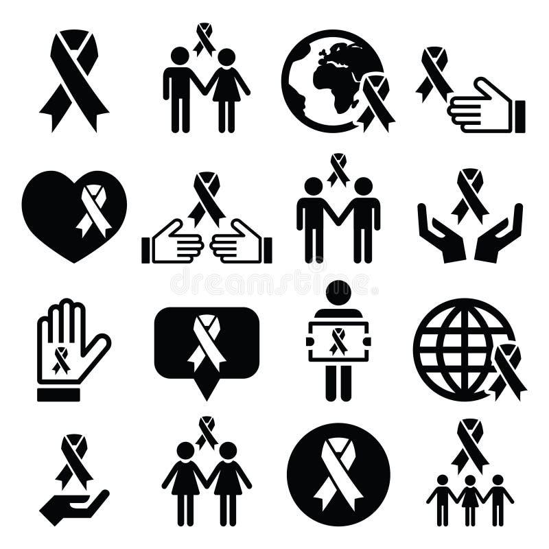 Nastri di consapevolezza con la gente - icone nere messe royalty illustrazione gratis