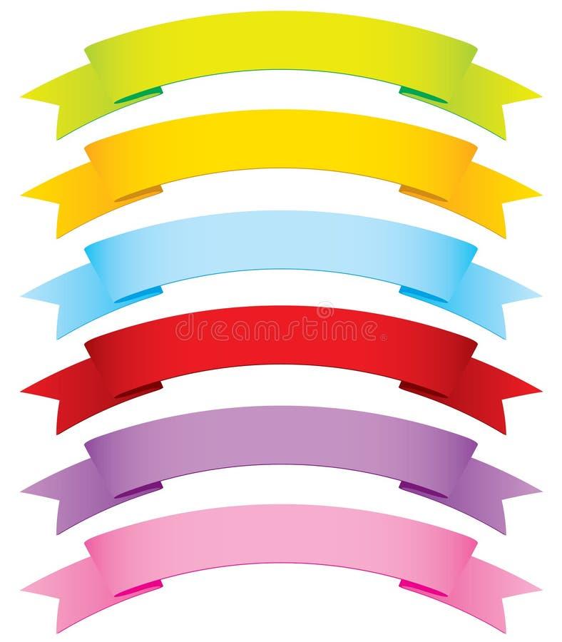 Nastri di vettore di curvatura in 6 colori illustrazione di stock