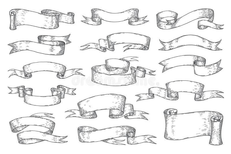 Nastri disegnati a mano Elementi d'annata di schizzo per le carte dell'invito del logos dei manifesti, retro nastri araldici Turb illustrazione di stock
