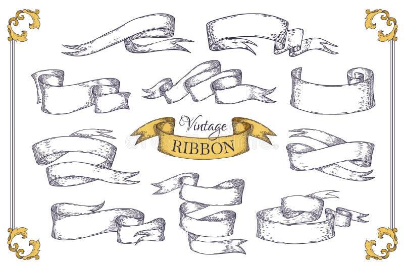 Nastri disegnati a mano Elementi del rotolo per le carte dell'invito dei manifesti dell'insegna ed il logo d'annata Vettore che i illustrazione di stock