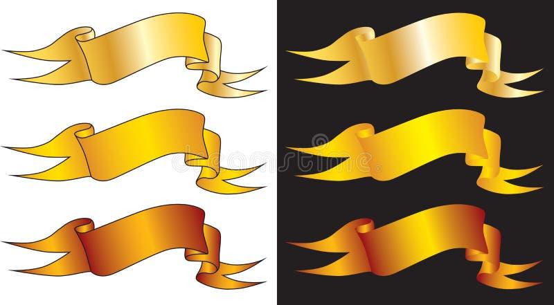 Nastri dorati illustrazione vettoriale