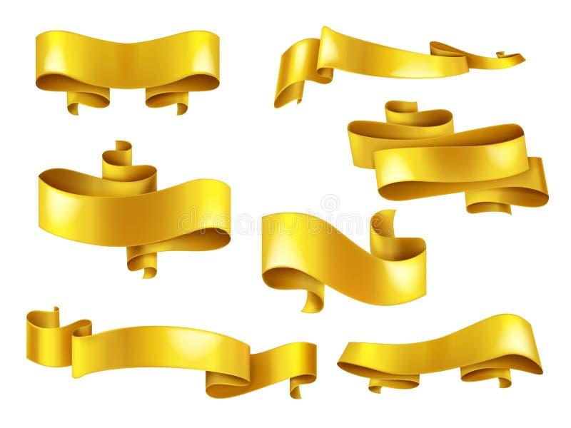 Nastri dorati con l'insieme realistico di vettore del copyspace illustrazione vettoriale